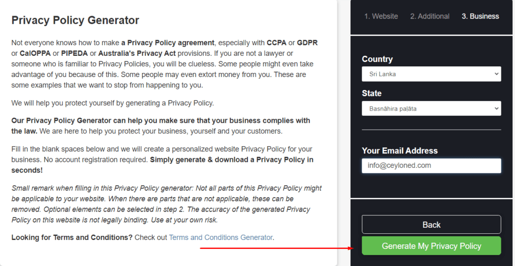 Final stage of Ceating the Privacy Policy page
