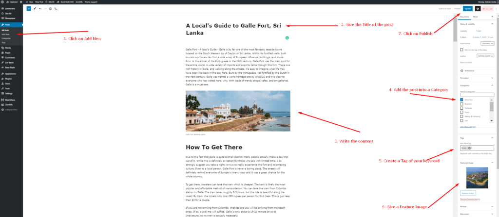 How to create a Post in Wordpress in sinhala