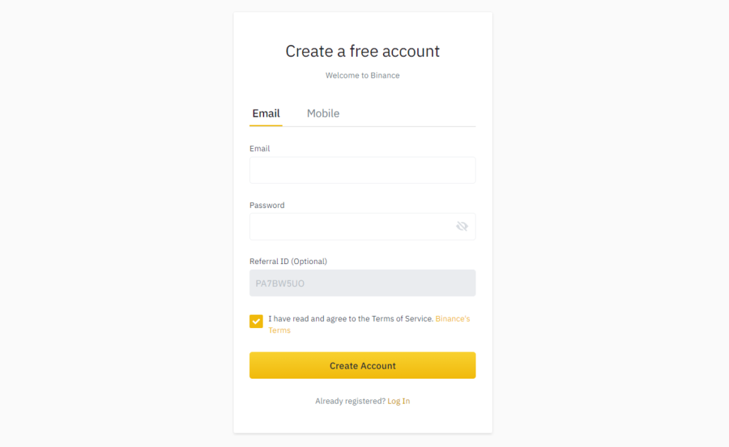 Fill out the Binance registration form